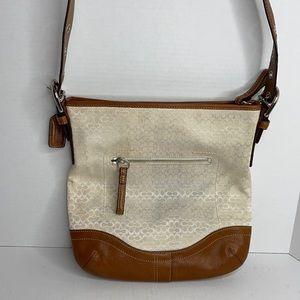 Coach 11 x 11 crossbody cream & brown leather bag